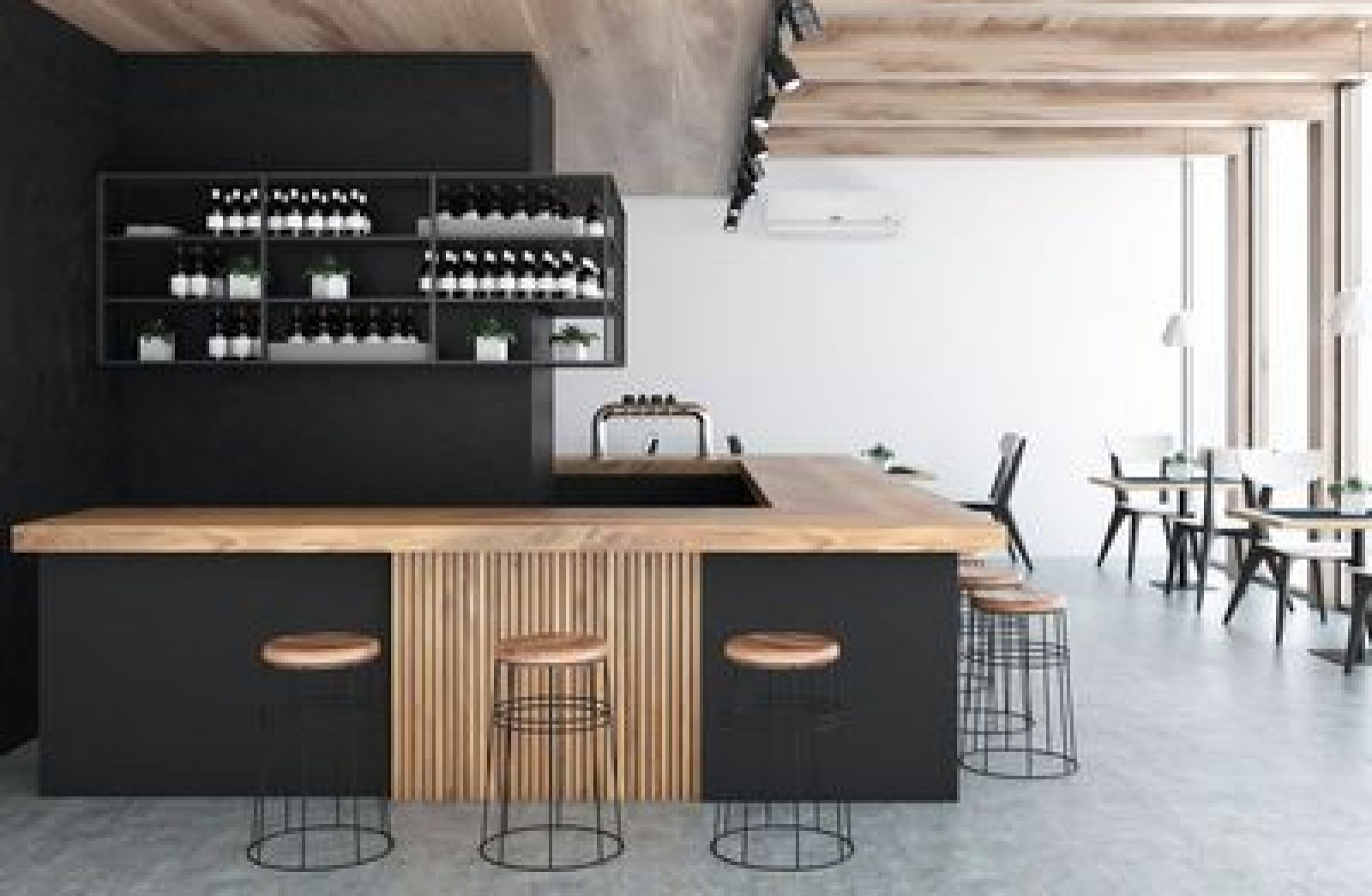 Front view of a black wall bar interior with a concrete floor, a wooden bar and rows of stools standing near it. 3d rendering mock up; Shutterstock ID 1074757415; Client/Licensee: -